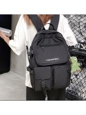 Outer Pocket Unisex Nylon Backpack With Cartoon Pendant
