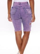 Trendy Mid Waist Distressed Denim Half Pants