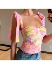 Tied Camisole Tie Dye Tank Tops For Women