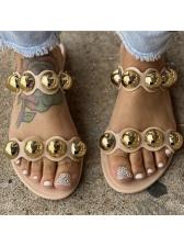 Euro Beading Decor Beach Womens Slippers