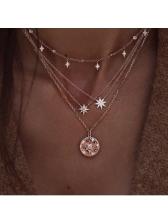 Rhinestone Star Women Layered Pendant Necklaces