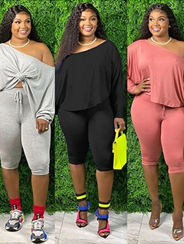 Inclined Shoulder Plus Size Casual Two Piece Outfits