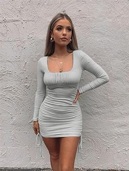 Square Neck Side Drawstring Solid Mini Dress