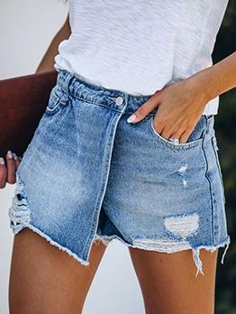 Chic Design Ripped Irregular Denim Shorts