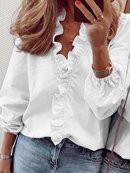 Stylish Solid Ruffled Long Sleeve Blouse