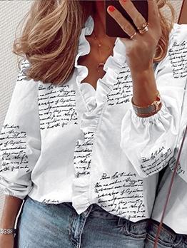 Letter Print Ruffled Long Sleeve Blouse