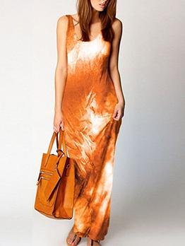 Tie Dye Sleeveless Casual Maxi Dresses