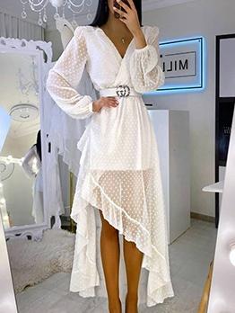 Polka Dot Ruffled Long Sleeve Maxi Dress