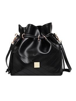 Drawstring Solid Color Large Bucket Shoulder Bags