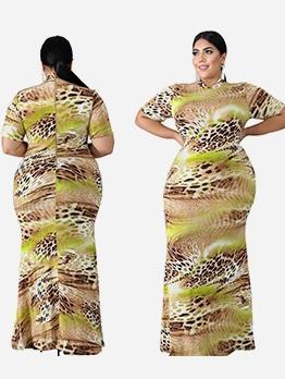 Snake Print Short Sleeve Plus Size Maxi Dress
