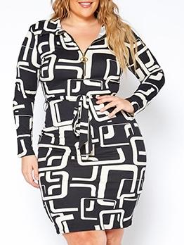 Digital Print Tie-Wrap Long Sleeve Midi Dress