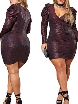 V Neck Long Sleeve Sequin Dresses For Women