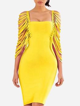 Solid Square Neck Irregular Sleeve Bodycon Dress