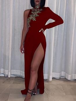 Single Sleeve Flower Pattern Split Maxi Dress