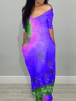 Summer V Neck Floor Length Tie Dye Maxi Dress
