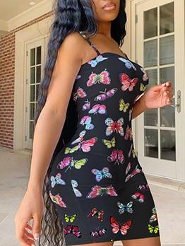 Butterfly Printed Skinny Fit Summer Slip Dress