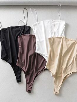 Spaghetti Strap Pure Color Plain Bodysuits