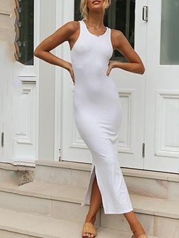 Solid Side Split Sleeveless Midi Dress