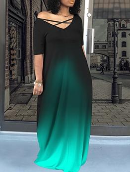 Printed V Neck Pockets Short Sleeve Maxi Dress