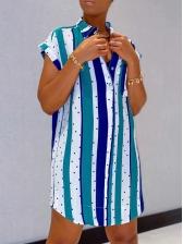 Striped Dot Print Short Sleeve Shirt Dress