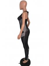 Contrast Color U Neck Sleeveless Yoga Jumpsuit