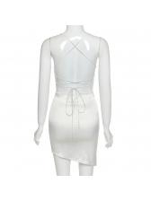 Sexy Lace Up Backless Short Sleeveless Dress