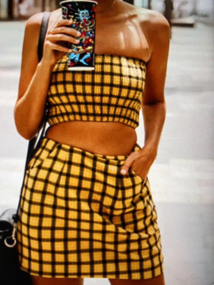 Stylish Smocked Plaid Crop Top And Skirt Set