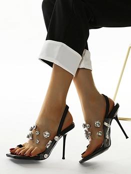 Euro Clear Rhinestone Decor Ladies Sandal