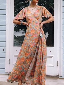 Euro Printed Short Sleeve Cheap Maxi Dresses