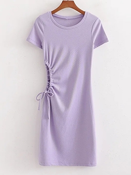 Purple Side Drawstring Short Sleeve Dress