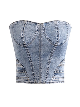 Back Lace-Up Blue Denim Strapless Top