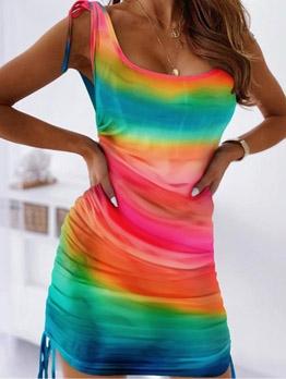Mixed Colored Drawstring Short Sleeveless Dress