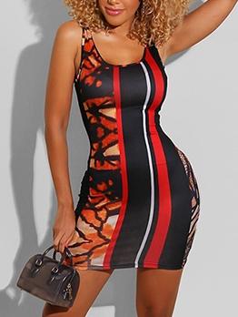 Fashion Digital Printing Short Sleeveless Dress
