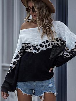Contrast Color Leopard Patchwork Slim Fit Sweater