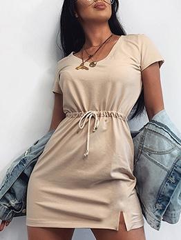 Drawstring Solid Short Sleeve Summer Dresses