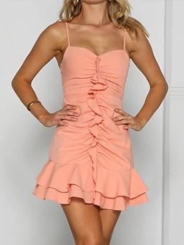 Fashion Solid Ruched Ruffled Sleeveless Dress