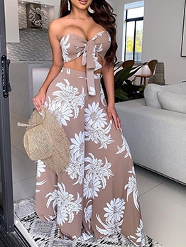 Strapless Printed Tie-Bow Wide Leg 2 Piece Sets