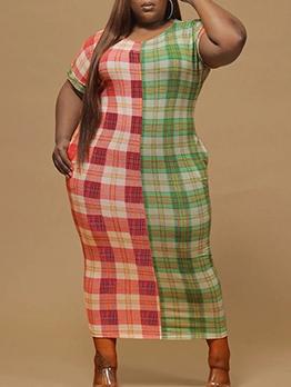 Contrast Color Plaid Side Pocket Plus Size Maxi Dress
