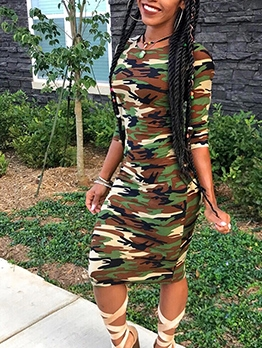 Camouflage Skinny Fit Long Sleeve Dress
