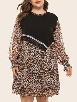 Leopard Lace Patchwork Long Sleeve Dress