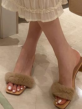 Faux Fur Mid Heel Open Toe Slippers