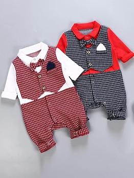 Baby Boy Long Sleeve Bow Knot Plaid Sleepsuit