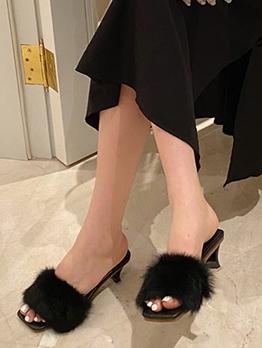 Square Toe Rabbit Fur Ladies Slippers