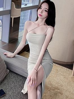Vent Medium Length Camisole Dress For Women