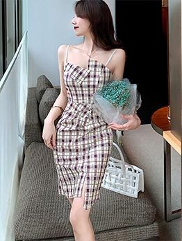 Fashion Plaid Camisole One Piece Dress