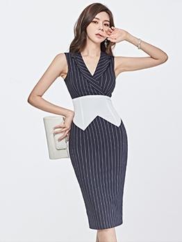 V Neck Striped Patchwork Bodycon Dress