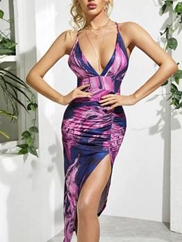 Sexy Split Hem Backless Print Bodycon Dress