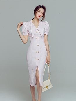 OL Style Single-Breasted Short Sleeve Dress