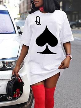 Summer Poker Pattern Printed T-Shirt Dress