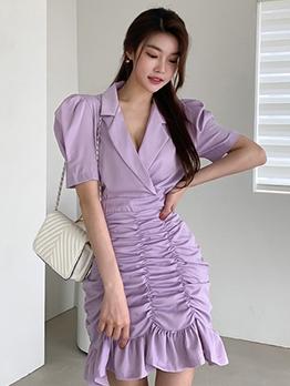 Elegant Draped Ruffled Short Sleeve Dress